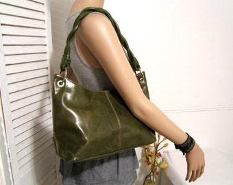 Green Leather Bag  Geniune Leather Purse Handbag