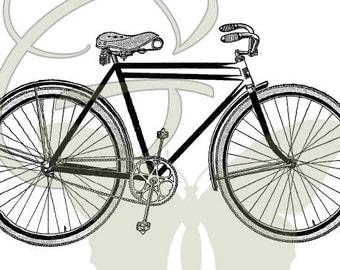 Bicycle Digital Vintage Bike Image Transfer Download Illustration Printable Clip Art 103