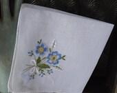 Valentines Day Sale Vintage blue floral embroidered hanky blue floral hanky vintage handkerchief blue embroidered hanky floral bouquet hanky