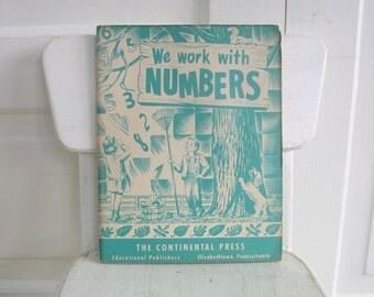 Vintage Child Workbook Math Numbers School Ephemera Fifties Retro