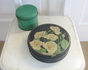 Set Vintage Metal Tins, Biscuit Tins, Vintage Candy Tins, Green Metal Storage, Floral Tins, White Black Green Roses