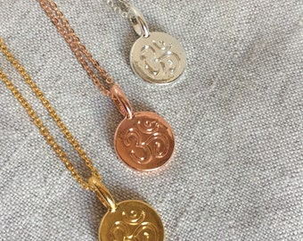 Rose gold necklace, Om pendant Necklace, rose gold jewelry, yoga,