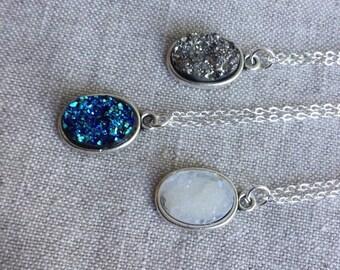 Druzy Necklace, Faux Druzy Necklace, Druzy Pendant, Boho Jewelry, Druzy Necklace