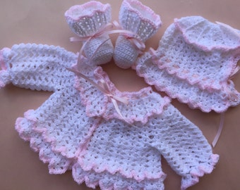 Crocheted Baby Sweater, Christening Set, baby girl crocheted sweater, newborn baby sweater, crochet baby booties, crochet baby bonnet