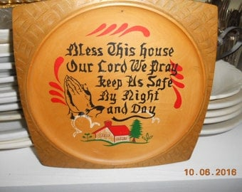 Vintage Wooden Wall Plaque Hand Painted Tilso Japan Made in Japan Bless This House Poem