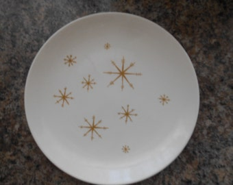 Vintage Atomic Stars Dinner Size Plate White and Gold Star Glow by Royal China Royal Ironstone