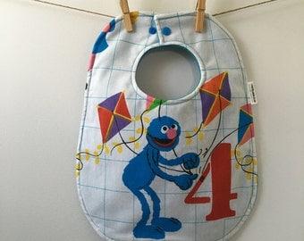 Grover Baby Gift - Vintage Sesame Street Baby Bib - Grover Baby Bib - Upcycled Baby Gift - Oversize Baby Bib