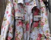 Denim and Lace Jacket/Plus Size Jacket/Upcycled Denim Jacket/Retro Floral Denim Jacket/Denim and Roses Jacket