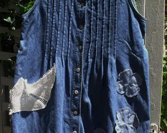 Fringey, Frazzled Denim Jumper/ Denim, Lace, Crochet Dress/ Denim Jumper, Sundress,  Fringed Jacket-Coverup/Sheerfab Funwear