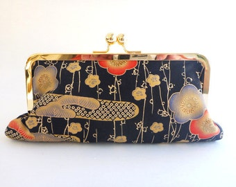 wallet clutch, cell phone wallet, Japanese fabric, makeup bag, pouch, Geisha, fall wedding, bridesmaid, gift for her, stocking stuffer