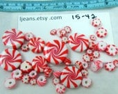 Handmade Christmas Holiday Peppermint Candy Polymer Clay Beads 15-42