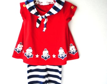 Nautical vintage 80s cotton blend girl's suite: red dress with a striped sailor collar and matching pants. Made by Tickle me. Size 2t/s