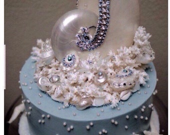Jeweled SeaShell  & Coral Cake Topper  Aqua Crystals Rhinestones