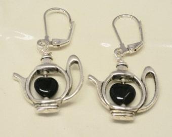 Tea Lover's Earrings with Black Agate Hearts, Silver Teapot Earrings, Heart Jewelry, teacher gift, birthday gift, Tea Party Favor, Tea Party