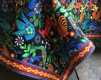Mexican Otomi Style Tablecloth Vintage Trim Black Red Yellow Colorful