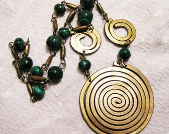 Vintage Boho Hippie Necklace of Brass and Malachite Coiled Brass Center Piece is More Than 2 Inches in Diameter 22 Inches Total Length  J121