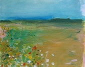 Small Landscape, Original oil painting on paper