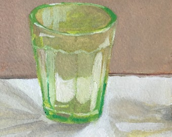 Green Glass,Original oil painting on paper