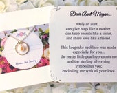 Gift for AUNT Necklace PEARL Sterling Silver Aunt Jewelry PERSONALiZED POEM Card New Aunt GiFT WRAPPEd To Auntie Gift from Niece from Nephew