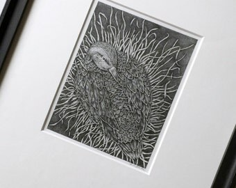 Duck on Nest Drawing, Framed Stipple Ink Original Drawing, Mother Duck On Nest Original Art, Framed Nesting Duck Black and White Ink Drawing