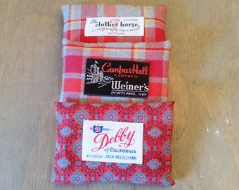 Vintage Fabric French Lavender Sachets with Vintage Clothing Label, Home Fragrance Dried Lavender Flower Sachets