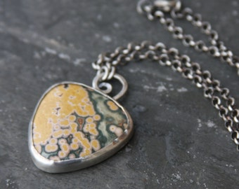 sterling silver and ocean jasper pendant necklace