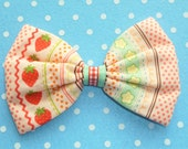 SALE Kawaii Strawberry Stripe Hair Bow Clip