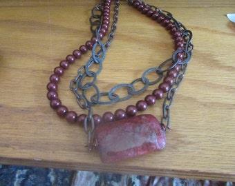 garnet red chain necklace