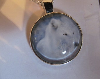 white wolf pendant necklace