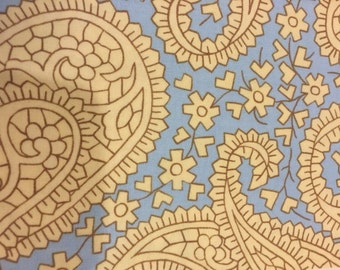 Amy Butler Charm Blue Paisley Floral fabric | Cotton Quilting fabric | Last yard