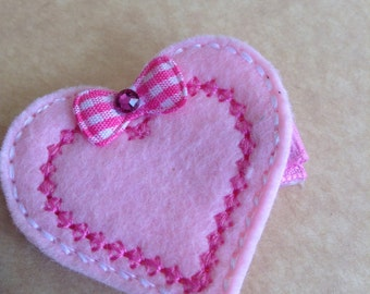 Girls Embroidered Felt Valentines Day Pink & Pink Heart Hair Clip, Toddlers Hair Clips, Hair Bows, Valentines Day, Hair Bows (Item 15-1063)