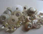 Vintage Buttons -21 assorted pastel colors, mainly shades of off white and clear with rhinestones, old and sweet, acrylic, (feb 21)
