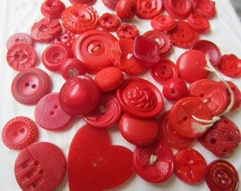 Vintage Buttons - Cottage chic mix of red lot of 50 old and sweet( sept 327)