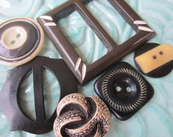 Vintage Buttons - Cottage chic mix of black and cream buttons and 2 belt buckles ( sept 394 )
