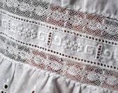 Antique  Child's Petticoat Full Slip Cotton Valenciennes Insertion Lace Eyelet Lace Ruffles Girls Dolls Victorian Edwardian
