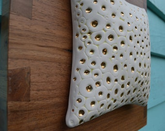Tentacle Texture Porcelain Wall Pillow on Dovetail Wood