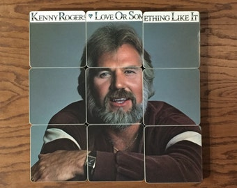 KENNY ROGERS recycled 1987 music album cover coasters with record bowl