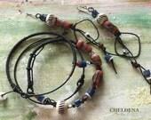 Primitive Sandcast Trade Bead Drop Earrings, Matching Bangles, Primitive Abstract Earrings, Duster Earrings, Set, Cheldena
