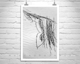 Desert Print, Vertical Wall Art, White Sands, Minimalist Art, Black and White Photography, New Mexico, Gift, Sand Dunes, Abstract Art