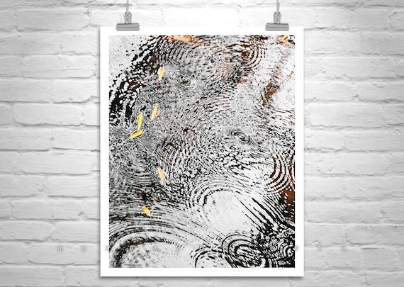 Rain Photography, Raindrops, Water Ripples, Rain Art, Fall Picture, Abstract Art, Water Art, Nature Photography, Vertical Print, Autumn Art