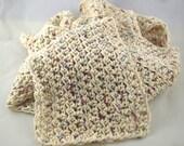 Light and Lacy Potpourri cream color snuggly 100 percent cotton crochet scarf