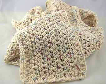 Light and Lacy Potpourri cream color snuggly 100 percent cotton crochet scarf