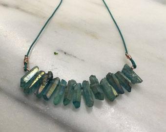 Mystic Green Quartz Points Bib Statement Necklace   Leather Necklace  Boho necklace    Beach wear   Cruise wear  Summer Necklace
