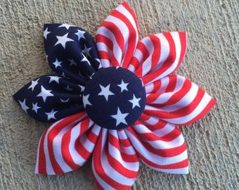 Patriotic American Flag Fabric Flower Daisy