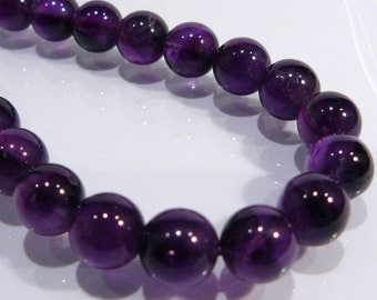 Genuine Amethyst Smooth Round Gemstone Beads....4 Beads....9.5-10mm