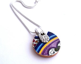 Broken Plate and Silverware Pendant Necklace Mexican Dish Flatware Charm Reycled Plate Silverware Jewelry Colorful Summer Snake Chain unique