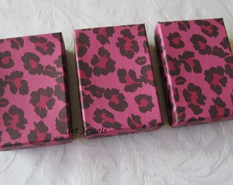 10 Gift Boxes, Jewelry Gift Box, Pink Gift Boxes, Hot Pink, Favor Boxes, Cheetah Animal Print, Bridesmaid Gift Box, Cotton Filled 3x2x1