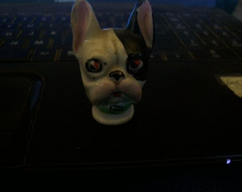 1940's Ceramic Painted Boston Terrier Dog's Head Made In Japan for a brush top