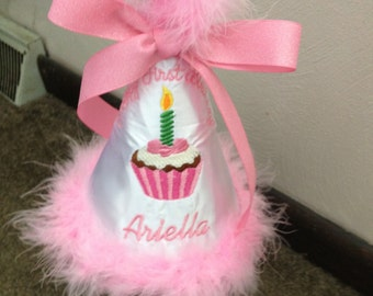 Personalized Girls Toddler Happy First Birthday Cupcake Party hat With Boa