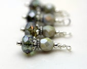 Vintage Style Olive Green Czech Picasso Firepolished Bead Earring Dangle Pendant Charm Drop Set
